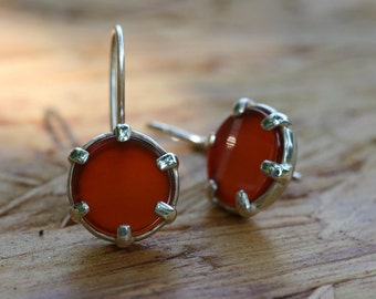 Carnelian Earrings, Silver Earrings, Handmade  Earrings, 925 Silver Earrings, Made in Israel, Silver Jewelry,