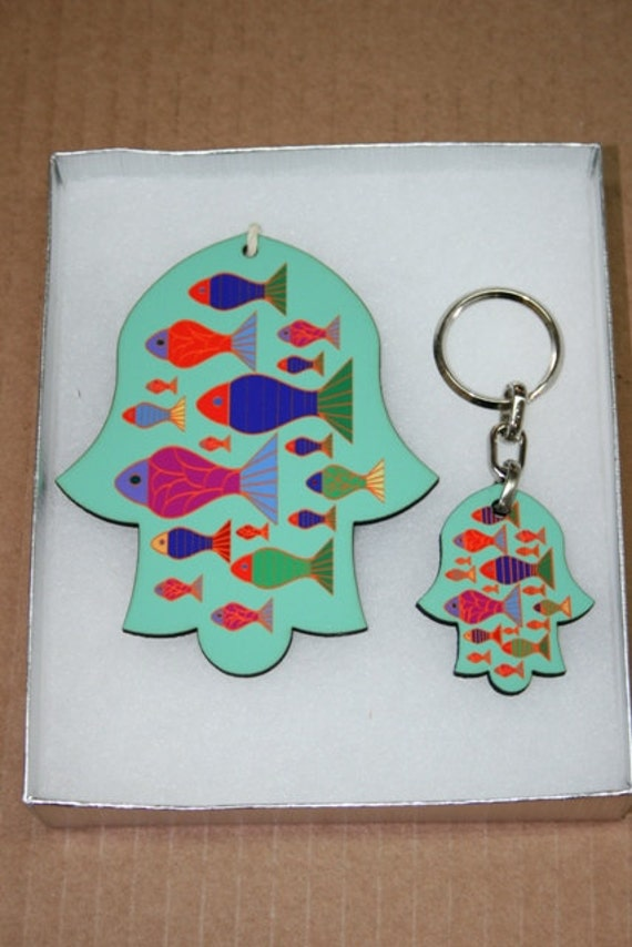 gift box - good luck hamsa- colorful fish key holder - home decor - new house -