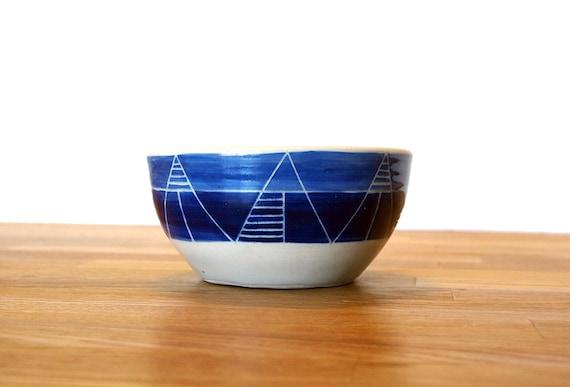 Ceramic Eskimo Beastie Design-Blue Tall Peaks-Bowl-Planter