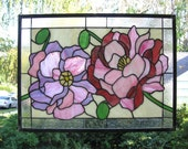 """Pink Peonies with Buds -16"""" x 22""""- stained glass window panel"""