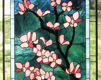 """Pink Dogwood Flowers, 24"""" x 36"""" Stained Glass Window panel"""