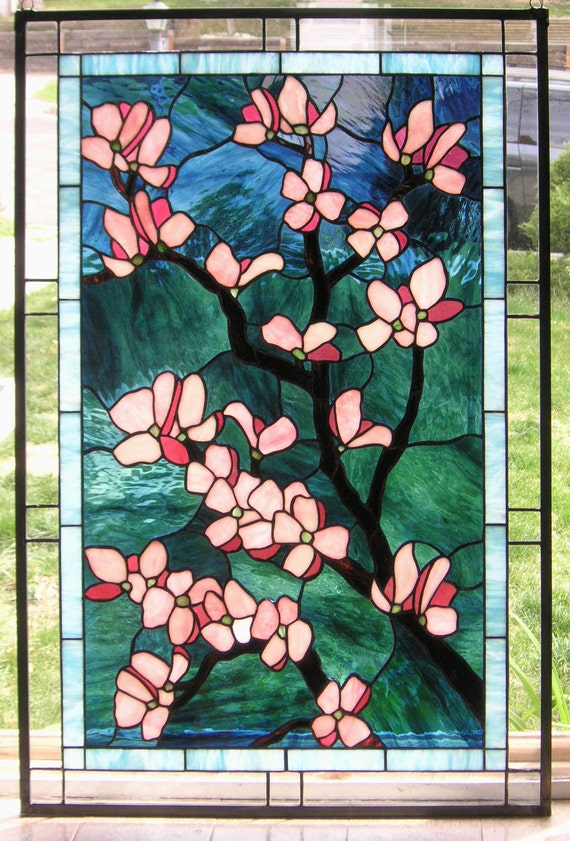 "Pink Dogwood Flowers, 24"" x 36"" Stained Glass Window panel"