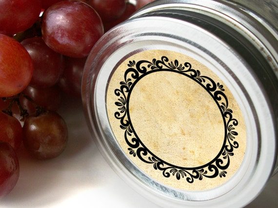 Vintage Wreath Canning jar labels, 2 inch round stickers for mason jars, fruit  and vegetable preservation, jam and jelly