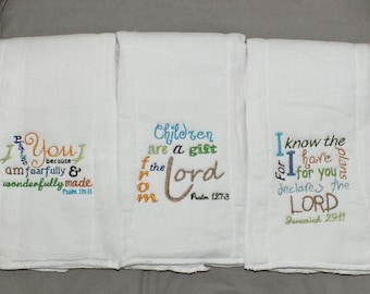 Baby Bible verse burp cloth Christian burp cloth baby boy burp cloth baby girl burp cloth