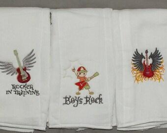 Future Rocker baby boy burp cloth set rock and roll baby girl burp cloth set