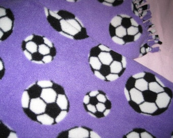 Soccer Balls on Purple Fleece Scarf