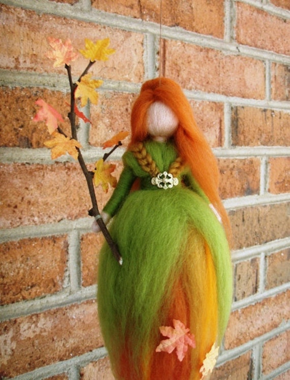 AUTUMN LEAVES FAIRY Needle Felted Wool  Doll Angel Faeries Soft Sculpture Waldorf Inspired