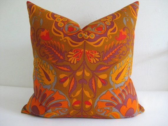 Pillow Cover 1970s Boho Fabric Marrakesh  18x18  20x20  22x22