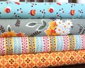 Aqua Grey and Orange Flower Fabric, Flea Market Fancy From Free Spirit, 1 Yard Bundle, 4 Prints, 4 Yards Total