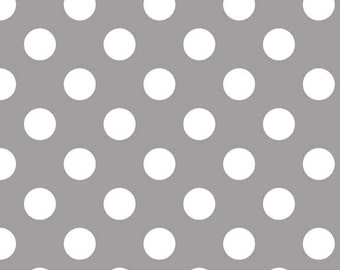Gray and White Medium Polka Dot Cotton For Riley Blake, 1 Yard