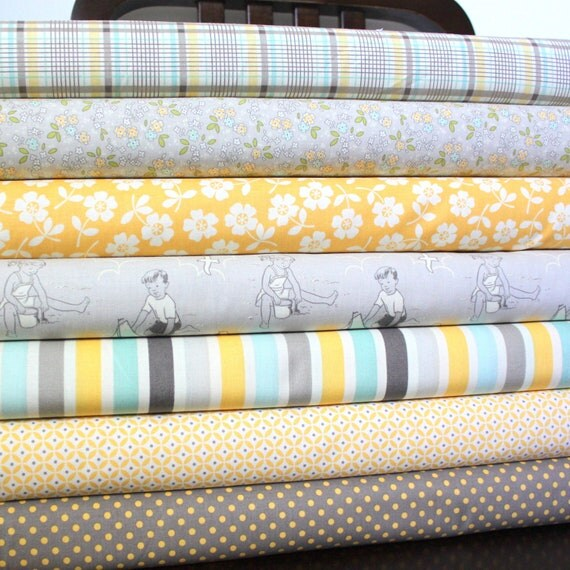 Grey Yellow and Aqua Beach Sailboat Fabric, Seaside by October Afternoon for Riley Blake, Fat Quarter Bundle, 7 Prints Total