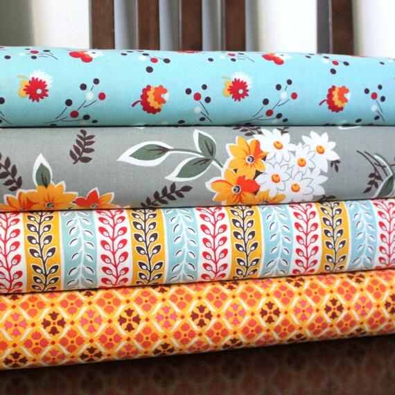 Aqua Grey and Orange Flower Fabric, Flea Market Fancy From Free Spirit, Fat Quarter Bundle