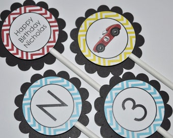 Boys Birthday Cupcake Toppers - Chevron Birthday Decorations, Race Car Birthday Party Decorations in Blue, Red, Yellow & Black - Set of 12