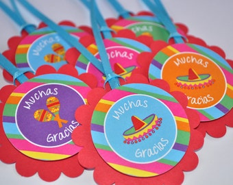 Fiesta Favor Tags - 1st Birthday Party - Thank You Tags - Cinco De Mayo - Birthday Fiesta Party Decorations Party Favors - Set of 12