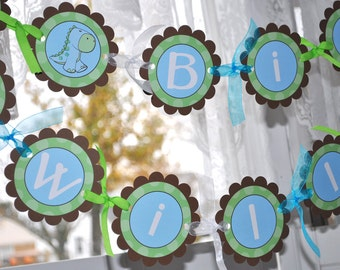 Dinosaur Birthday Banner - Boys Birthday Party Decorations - Brown, Green and Blue
