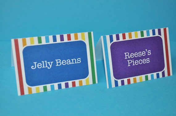Food Label Tent Cards or Place Cards - Rainbow Birthday Party Decorations - Personalized - Set of 12