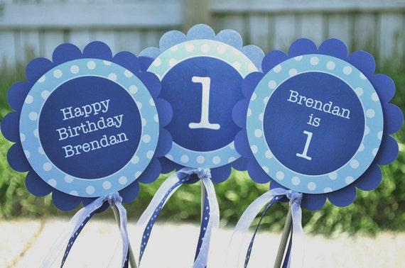 Centerpiece Sticks Boys Birthday Party Dark Blue and Light