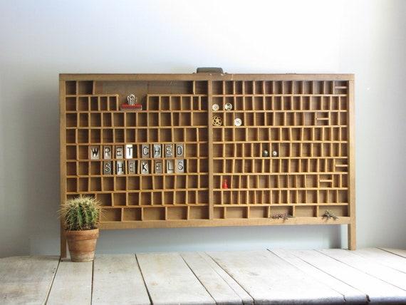 vintage letterpress tray - industrial curiosity cabinet