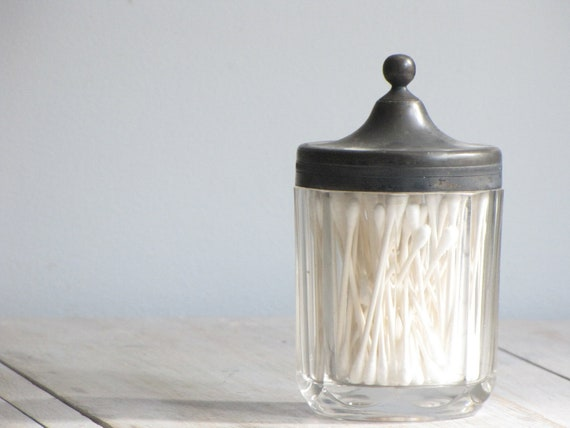 vintage glass bath accessory jar