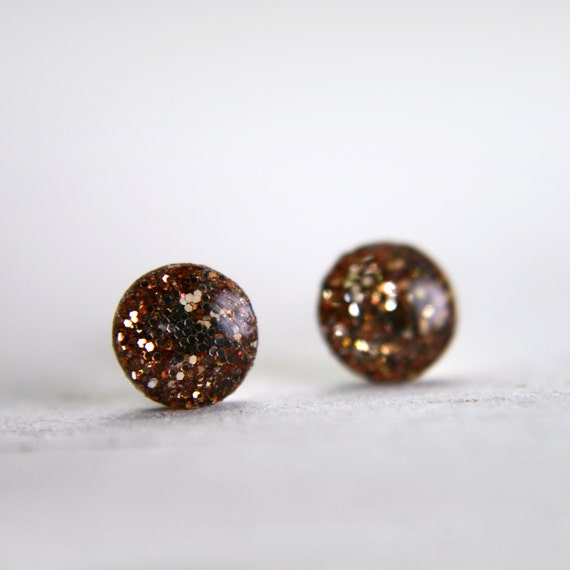 tiny glitter resin post earrings in bronze sparkles on sterling silver posts