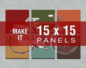 Make it 15x15 - Bicycle Map Six Panel Canvas Giclee