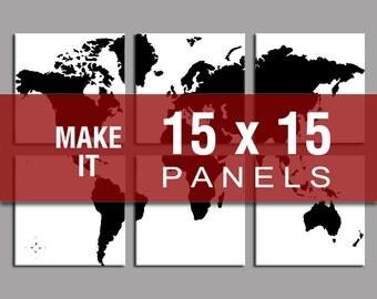 Make it 15x15 - World Map Six Panel Canvas Giclee