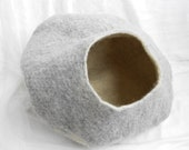 Cat Cave Bed Felted Villa Wool Vessel Gray Handmade Pet House Free Shipping