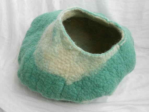 Cat Cave Felted Villa Wool Vessel Teal Green Handmade Pet House Bed