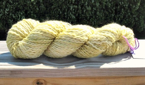 SALE Hand Dyed Merino Mohair Polyester Yarn, Honey Color, 200 Yards