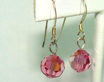 Rose Pink SWAROVSKI Handmade EARRINGS with STERLING Silver