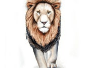 Lion Watercolor Art - Lion 2 - Signed Art Print of my Watercolor Painting - home decor, nature art, kids, nursery art