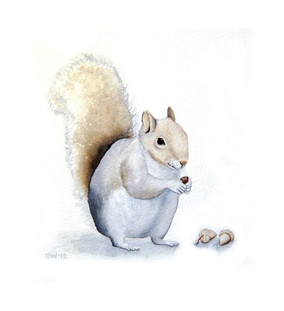 Squirrel Art - Squirrel with Acorns - ORIGINAL Watercolor Painting - home decor, original art