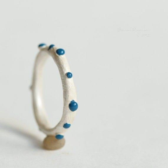 Blue Clown Ring Sterling Little Bubbles T10