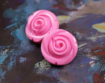 Flower Plastic Buttons - Pink Flower in Full Bloom Plastic Buttons. 10 in a set, 0.63  inch