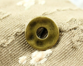 Metal Buttons - Broadside Circle Metal Buttons , Brass Color , Shank , 0.59 inch , 10 pcs