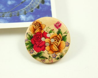 Wooden Buttons - Yellow and Red Roses In Full Bloom Picture Natural Wood Buttons, 1.18 inch (6 in a set)