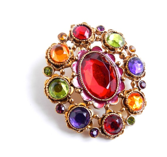 Vintage Multi Colored Gold Toned Brooch Pendant