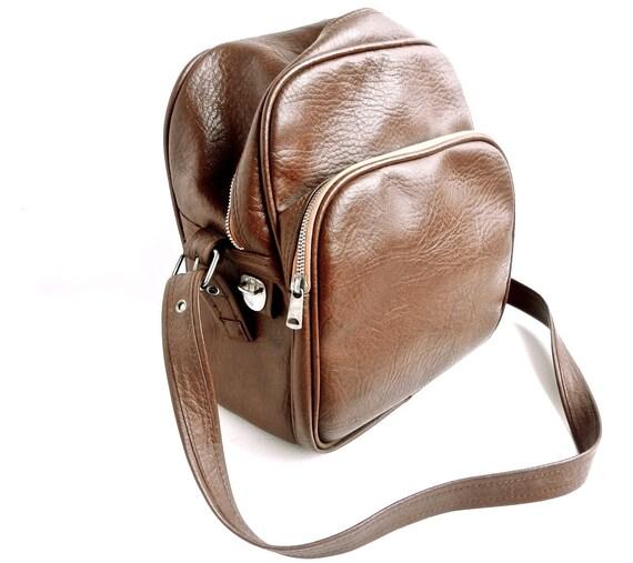 Vintage 1970s Brown Bag / Camera Bag / Overnight Bag