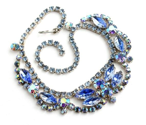 SALE -Vintage Blue Rhinestone Necklace - Silver Tone Aurora Borealis Costume Jewelry / Icy Blues