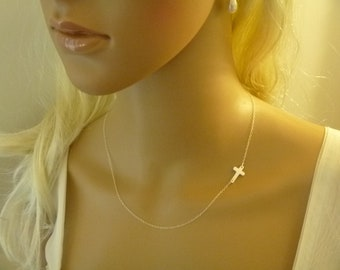 Sideways Cross Necklace as seen on some Hollywood Stars, All Sterling Silver