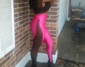 High Waist Hot Pink on Black Sheer Leggings