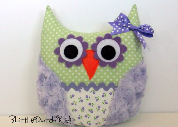 Paiton (Lavender and Sage Green Owl Pillow)