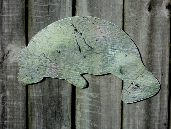 Beach-y Wooden Manatee, Rustic, Casual Cottage Decor