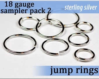 32 pcs 18g sterling sampler pack 2 assorted jump rings 18gsamp2 designer assortment jumprings 925 solid sterling jewelry findings