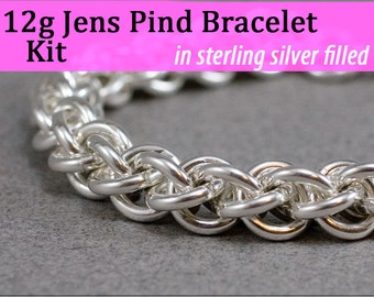 12g Jens Pind Bracelet Chainmaille Kit  Silver Filled