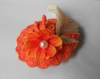 Barbie Crochet Hat Orange Ostrich Feathers-Flowers