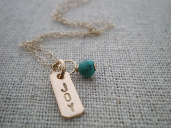 gold filled joy necklace - 14k gold filled disc and chain with genuine turquoise
