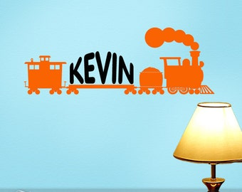 Personalized Wall Decal Train, Train Birthday Party Decoration, Custom Name Decal for Kids Room, Kids Playroom Decor, Railroad Decor (00168)