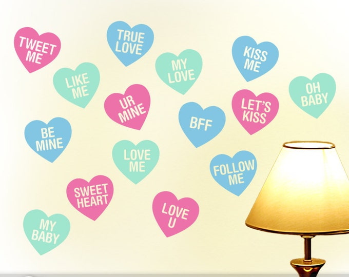 Valentine Hearts Wall Decals, Valentine Decorations, Conversation Heart Decorations, Valentine Message Candy Heart Decals (0171a0v-r5)