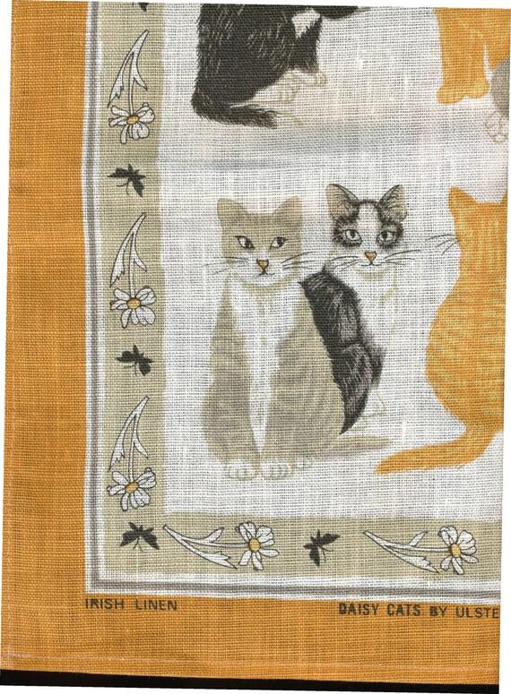 Linen Towel of Many CATS Ulster Linen Ireland orange
